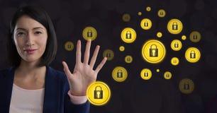 Ícones abertos de ondulação do fechamento da segurança da mão da mulher de negócios Imagens de Stock Royalty Free