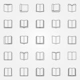 Ícones abertos do livro ajustados ilustração stock