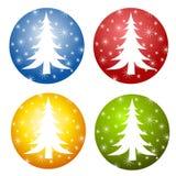 Ícones abstratos da árvore de Natal Imagens de Stock Royalty Free