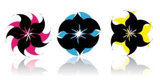 Ícones abstratos da flor - vetor Imagem de Stock