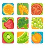 Ícones abstratos das frutas e legumes Fotos de Stock