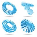 Ícones abstratos do azul de gelo 3d Foto de Stock Royalty Free