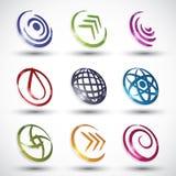 Ícones abstratos 3 do estilo contemporâneo Imagens de Stock