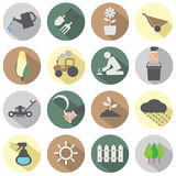 Ícones agrícolas do equipamento Foto de Stock Royalty Free