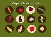 Ícones ajustados, alimento saudável dos vegetais Imagens de Stock