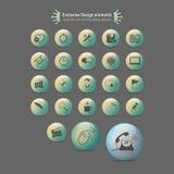 Ícones ajustados com as esferas lustrosas coloridas ilustração do vetor