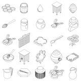 Ícones ajustados, da apicultura estilo 3d isométrico ilustração royalty free