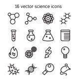 Ícones ajustados da ciência Fotografia de Stock