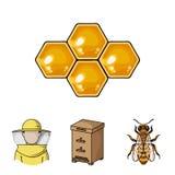 Ícones ajustados da coleção do apiário no vetor do estilo dos desenhos animados Foto de Stock Royalty Free