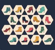 Ícones ajustados da coleção-ilustração do outono dos calçados da forma Imagem de Stock