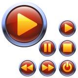 Ícones ajustados da cor vermelha para o reprodutor multimedia Imagem de Stock Royalty Free