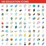 100 ícones ajustados, da educação estilo 3d isométrico ilustração stock
