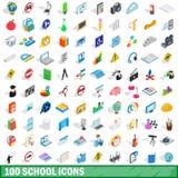 100 ícones ajustados, da escola estilo 3d isométrico Imagens de Stock