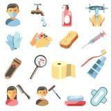 Ícones ajustados da higiene e sanitários ilustração stock