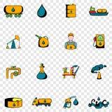 Ícones ajustados da indústria petroleira Imagem de Stock