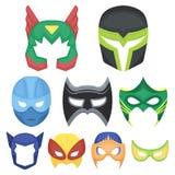 Ícones ajustados da máscara do super-herói no estilo dos desenhos animados Coleção grande da ilustração do estoque do símbolo do  imagens de stock