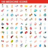 100 ícones ajustados, da medicina estilo 3d isométrico Fotos de Stock Royalty Free