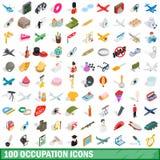 100 ícones ajustados, da ocupação estilo 3d isométrico ilustração stock