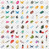 100 ícones ajustados, da ocupação estilo 3d isométrico ilustração do vetor