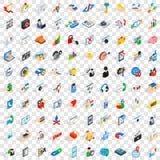 100 ícones ajustados, da pesquisa estilo 3d isométrico Fotografia de Stock Royalty Free