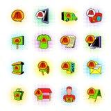 Ícones ajustados da propaganda, estilo da banda desenhada Imagens de Stock Royalty Free
