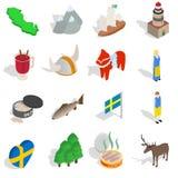 Ícones ajustados, da Suécia estilo 3d isométrico ilustração stock