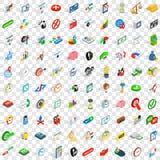 100 ícones ajustados, da troca estilo 3d isométrico Foto de Stock