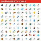 100 ícones ajustados, da universidade estilo 3d isométrico ilustração do vetor
