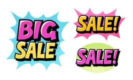 Ícones ajustados da venda grande Vetor cômico do estilo do pop art do texto ilustração stock