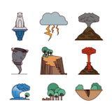 Ícones ajustados das alterações climáticas ilustração stock