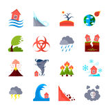 Ícones ajustados das catástrofes naturais Foto de Stock Royalty Free