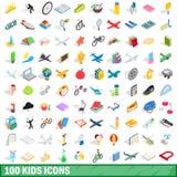 100 ícones ajustados, das crianças estilo 3d isométrico Imagem de Stock Royalty Free