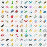 100 ícones ajustados, das crianças estilo 3d isométrico Fotos de Stock