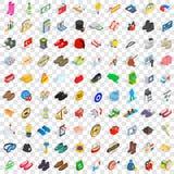 100 ícones ajustados, das sapatas estilo 3d isométrico ilustração stock