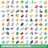 100 ícones ajustados, das vendas a retalho estilo 3d isométrico Fotos de Stock Royalty Free