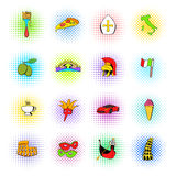 Ícones ajustados de Itália, estilo da banda desenhada Foto de Stock