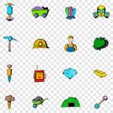 Ícones ajustados de mineração Foto de Stock Royalty Free