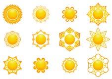 Ícones ajustados de Sun fotos de stock