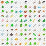 100 ícones ajustados, de sweden estilo 3d isométrico ilustração do vetor