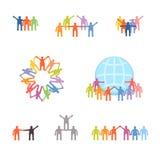 Ícones ajustados de trabalhos de equipa e da cooperação bem sucedidos Fotografia de Stock Royalty Free