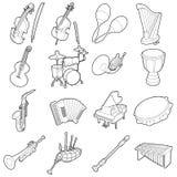 Ícones ajustados, desenhos animados dos instrumentos musicais do esboço ilustração royalty free