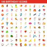 100 ícones ajustados, do aniversário estilo 3d isométrico ilustração do vetor