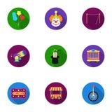 Ícones ajustados do circo no estilo liso Coleção grande da ilustração do estoque do símbolo do vetor do circo Imagens de Stock Royalty Free