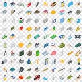 100 ícones ajustados, do corporaçõ estilo 3d isométrico ilustração stock