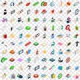 100 ícones ajustados, do diálogo estilo 3d isométrico Foto de Stock