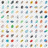 100 ícones ajustados, do dispositivo estilo 3d isométrico Imagem de Stock Royalty Free