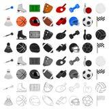 Ícones ajustados do esporte e da aptidão no estilo dos desenhos animados A coleção grande do esporte e a aptidão vector a ilustra ilustração royalty free