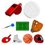 Ícones ajustados do esporte e da aptidão no estilo dos desenhos animados A coleção grande do esporte e a aptidão vector a ilustra Imagens de Stock