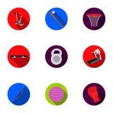 Ícones ajustados do esporte e da aptidão no estilo liso A coleção grande do esporte e a aptidão vector a ilustração conservada em Fotos de Stock