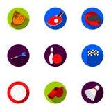 Ícones ajustados do esporte e da aptidão no estilo liso A coleção grande do esporte e a aptidão vector a ilustração conservada em Imagem de Stock Royalty Free